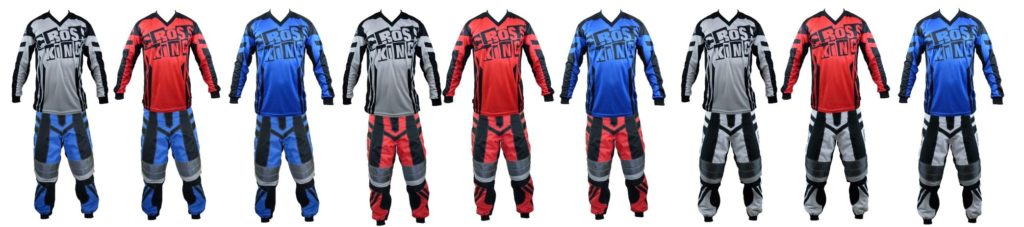 Ensemble des panoplies de maillots et pantalons bmx Crosskinggear AERO possible